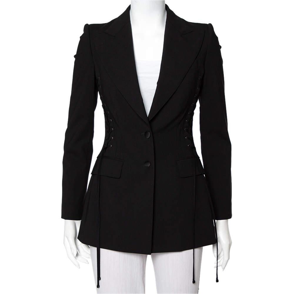 Dolce & Gabbana Black Wool Lace Up Detail Button Front Blazer XS