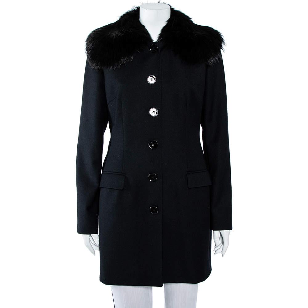 Dolce & Gabbana Black Wool & Fur Collar Button Front Coat L