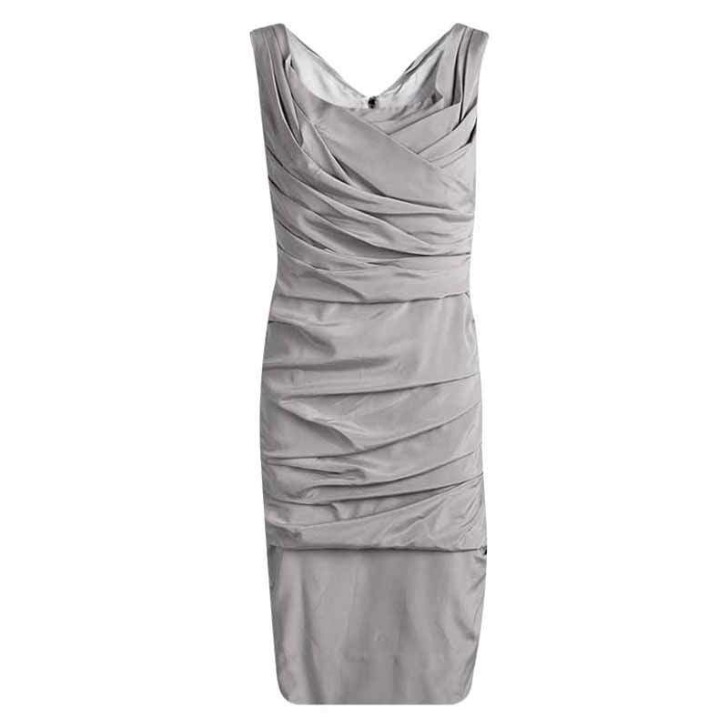 Dolce & Gabbana Grey Silk Ruched Sleeveless Dress M