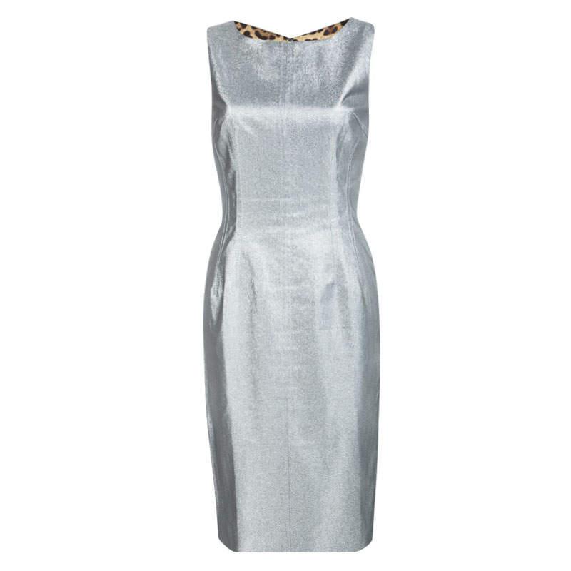 Dolce & Gabbana Silver Sleeveless Sheath Dress S