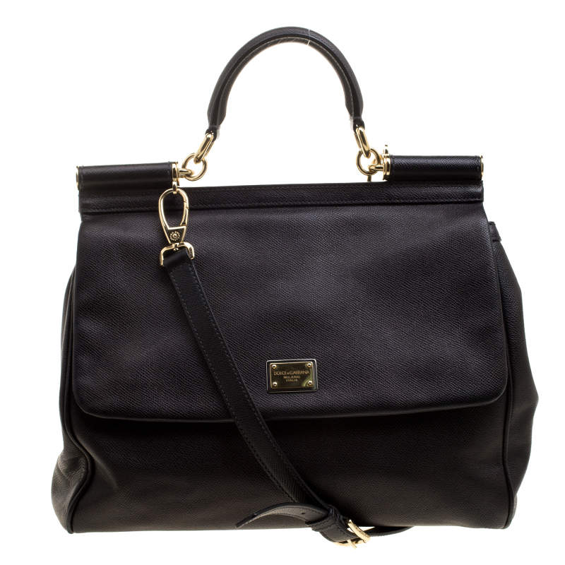 Dolce & Gabbana Black Leather Large Miss Sicily Tote