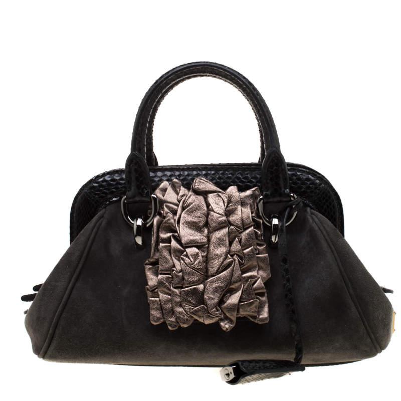 Dolce & Gabbana Black Suede and Python Trim  Frame Satchel