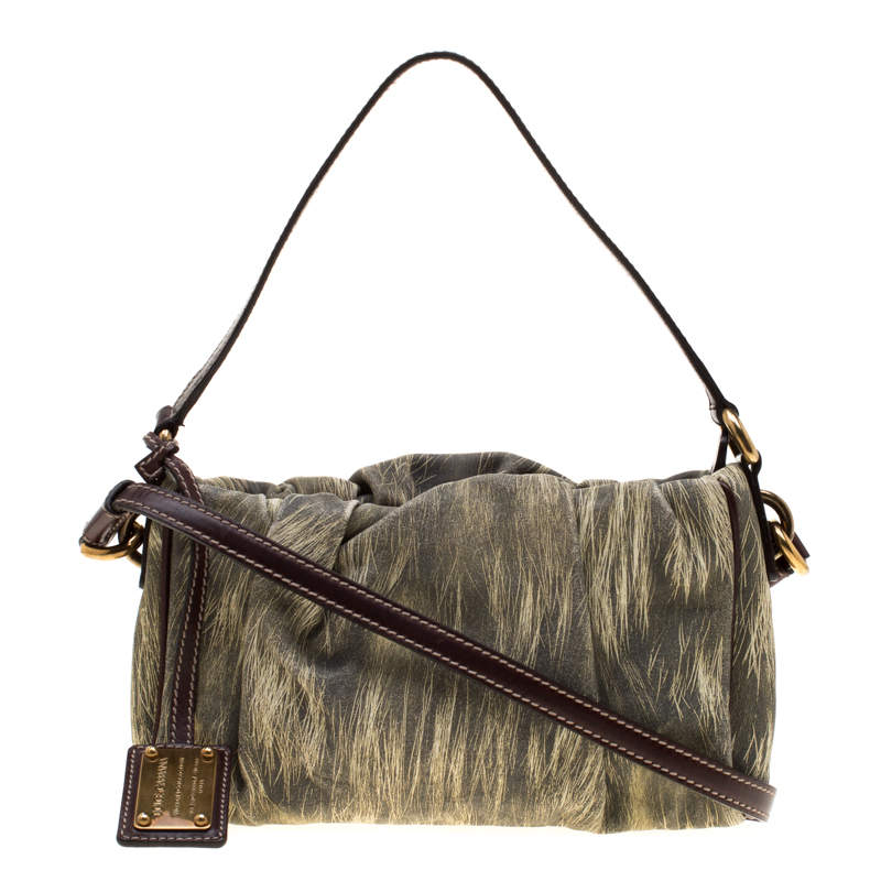 Dolce & Gabbana Yellow/Grey Printed Leather Miss Night and Day Crossbody Bag