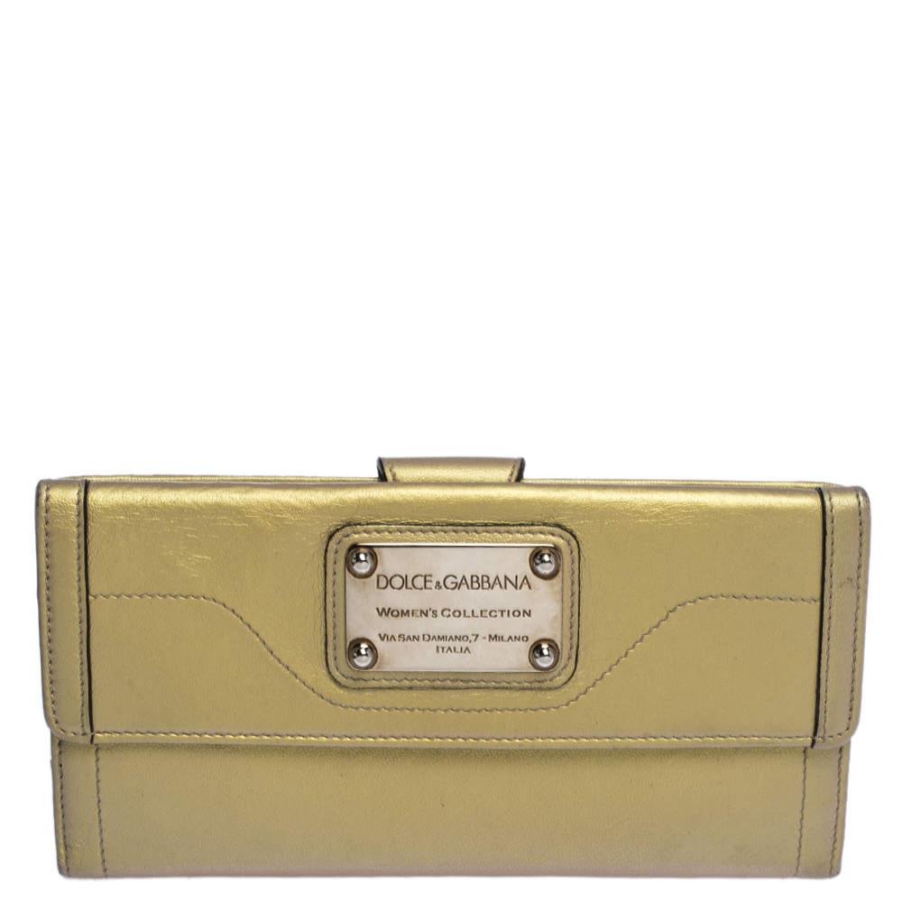 Dolce & Gabbana Metallic Gold Leather Logo Plaque Continental Flap Wallet