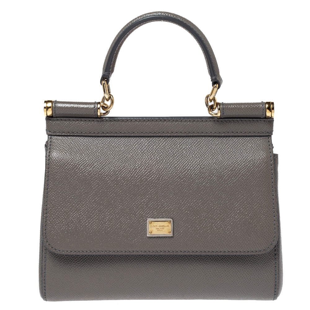 Dolce & Gabbana Grey Leather Small Sicily Top Handle Bag