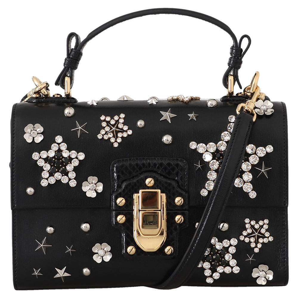 Dolce & Gabbana Black Star Crystal Leather Lucia Shoulder Bag