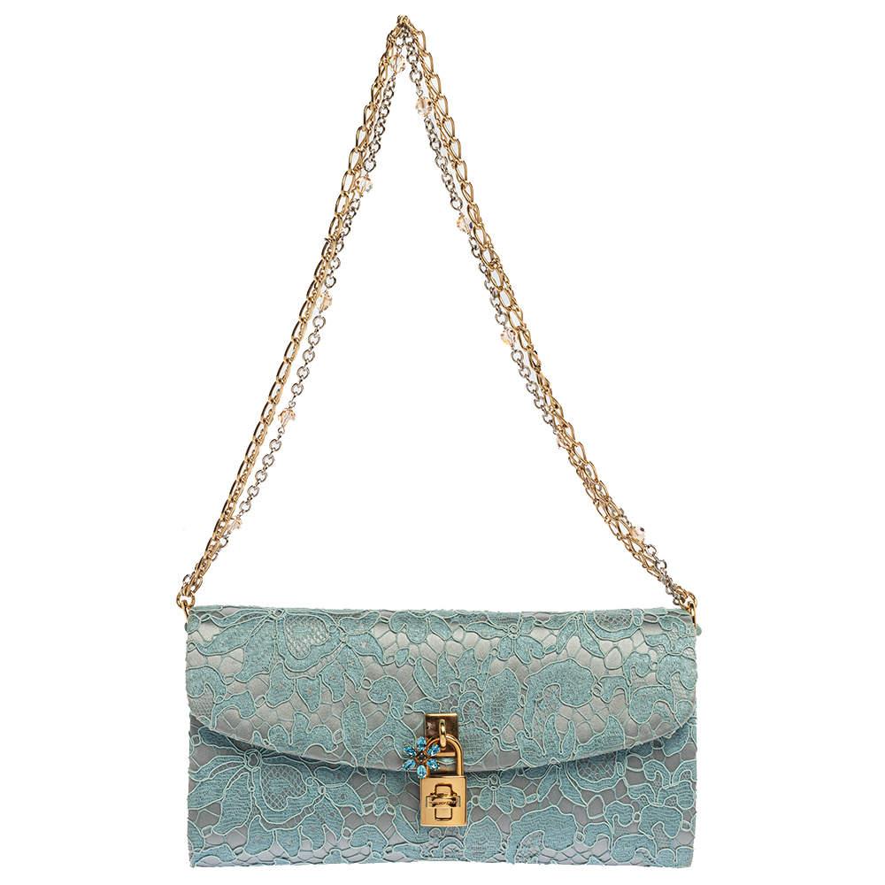 Dolce & Gabbana Light Blue Lace and Satin Padlock Chain Clutch