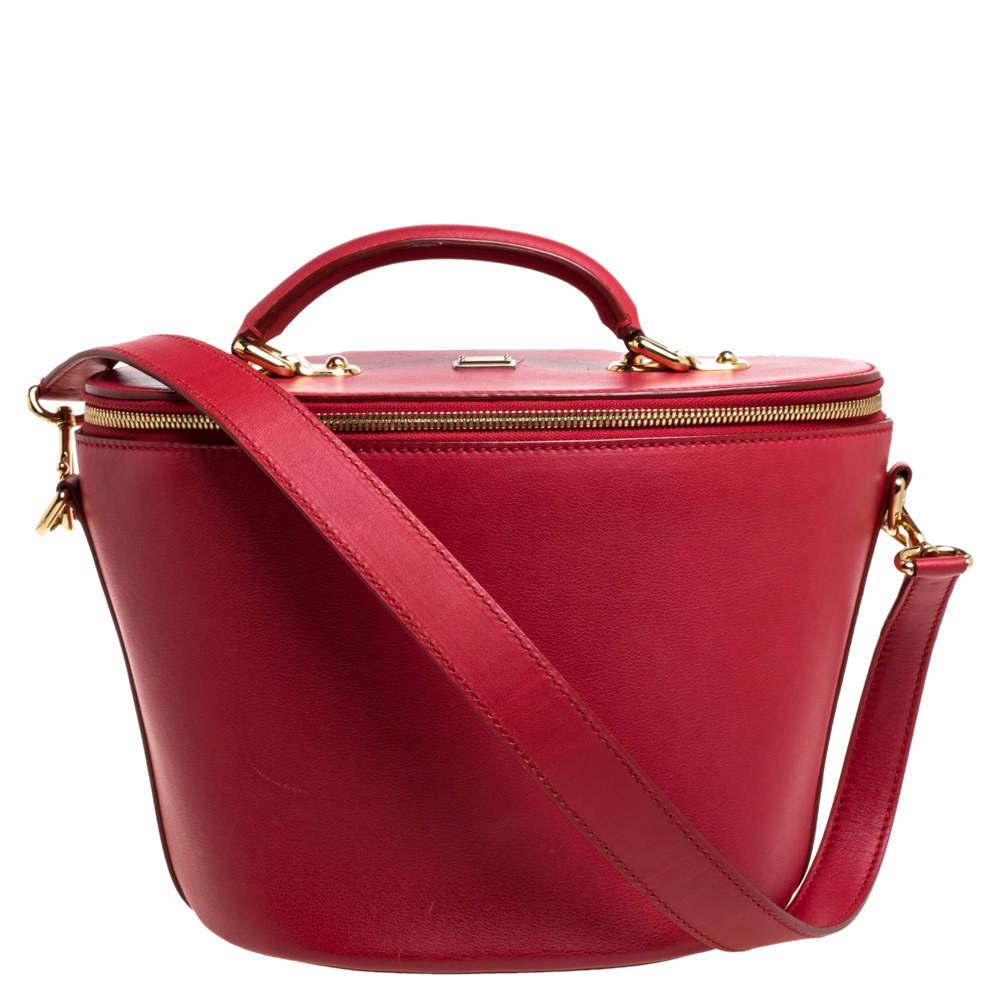 Dolce & Gabbana Red Leather Vanity Case Bag