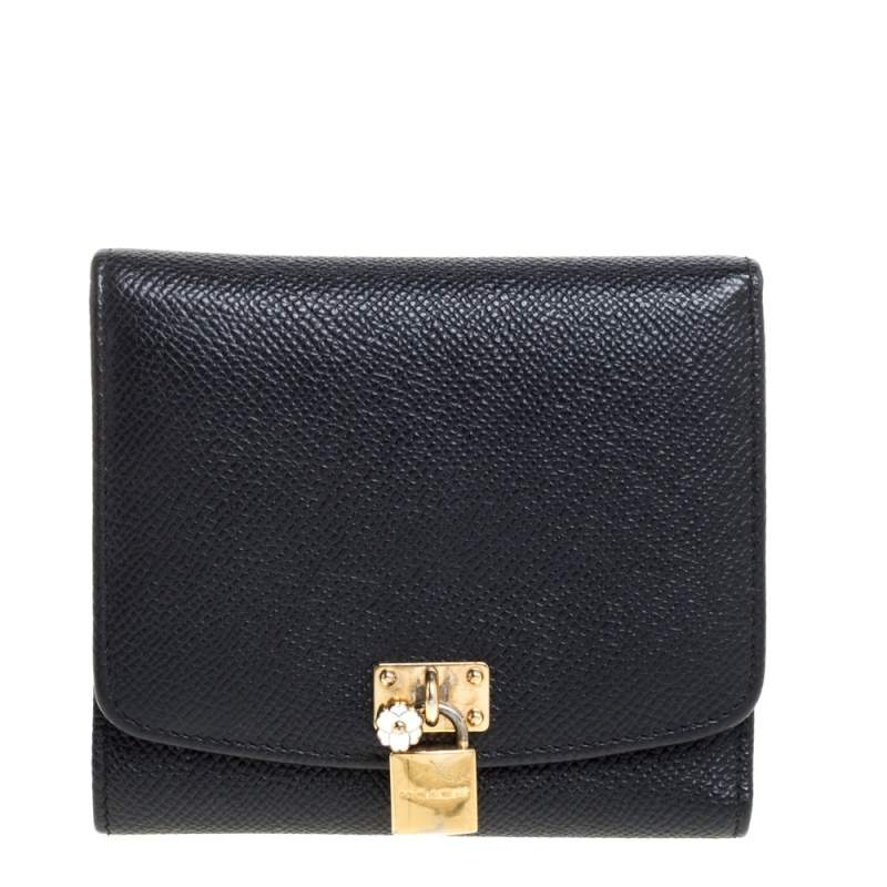 Dolce & Gabbana Black Leather Padlock Trifold Compact Wallet