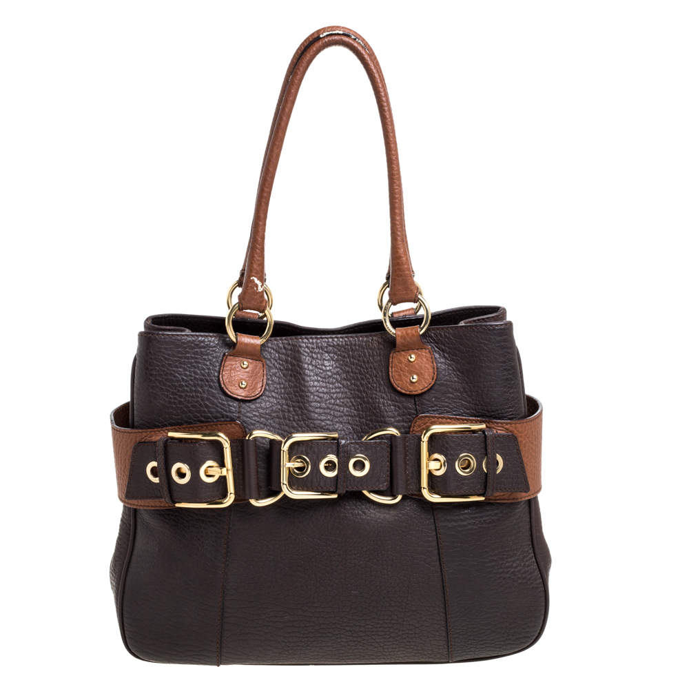 Dolce & Gabbana Two Tone Brown Grained Leather Buckle Tote
