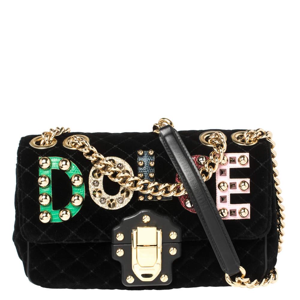 Dolce & Gabbana Black Quilted Velvet Lucia Embellished Shoulder Bag