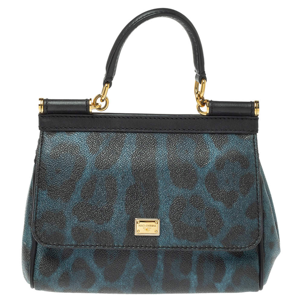 Dolce & Gabbana Black/Blue Leopard Print Coated Canvas and Leather Small Miss Sicily Top Handle Bag