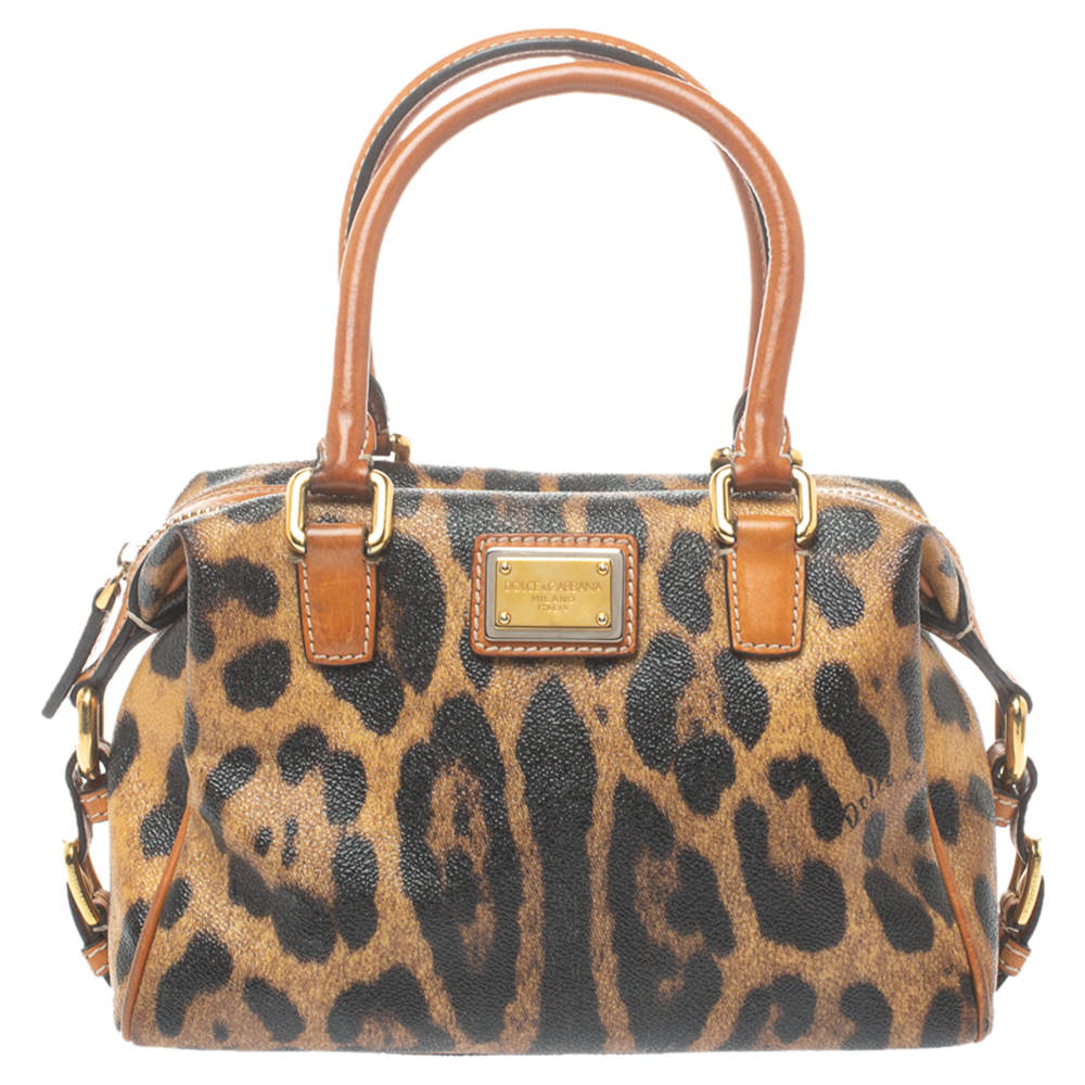 Dolce & Gabbana Brown Leopard Print Coated Canvas and Leather Satchel