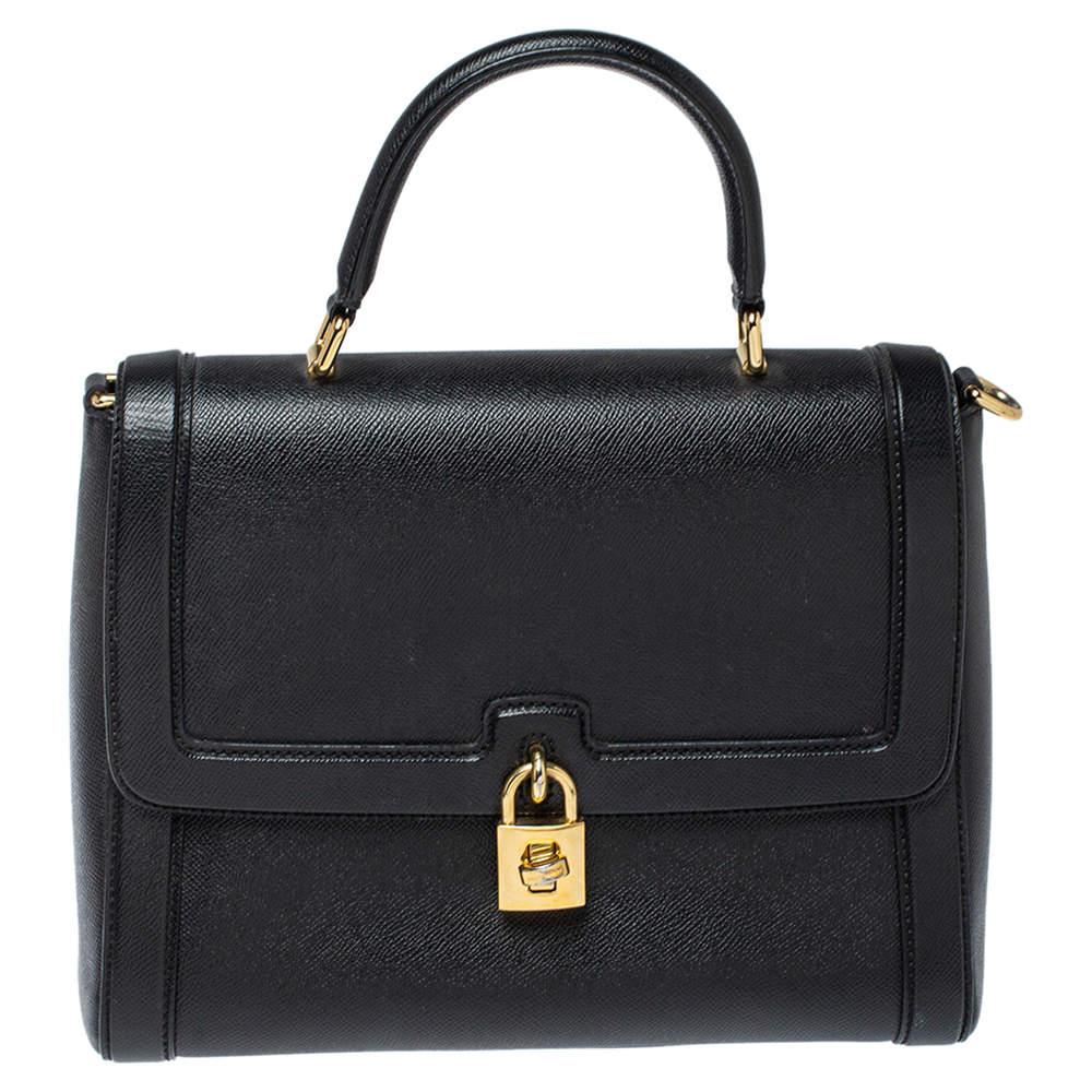 Dolce & Gabbana Black Leather Padlock Top Handle Bag