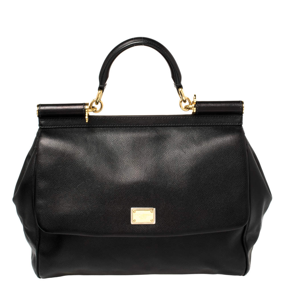 Dolce & Gabbana Black Leather Large Miss Sicily Top Handle Bag