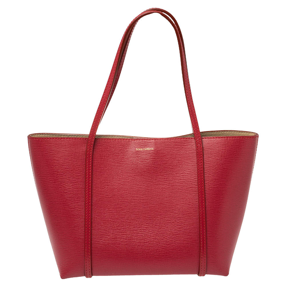 Dolce & Gabbana Red Leather Escape Ocean Tote