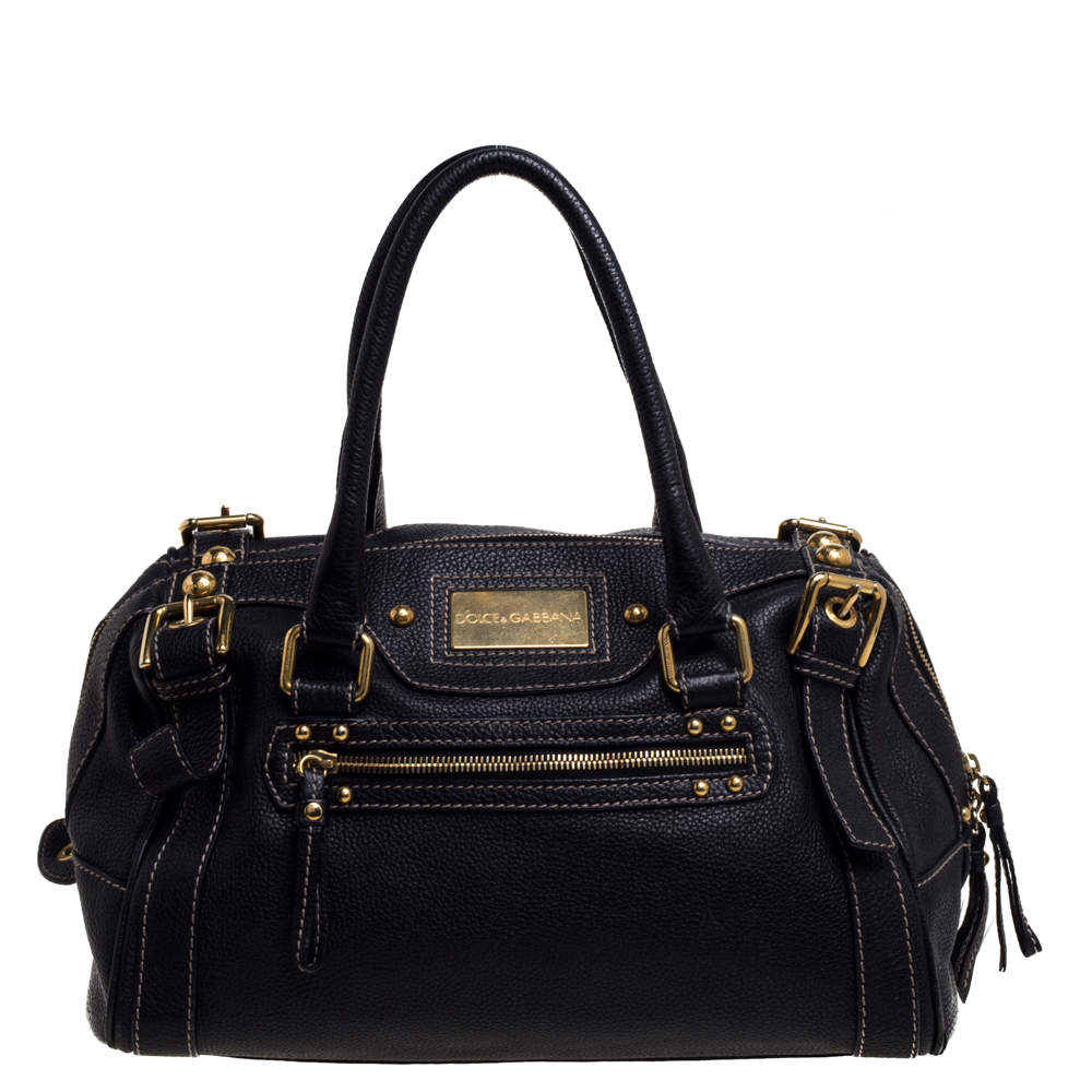 Dolce & Gabbana Black Leather Miss Easy Way Boston Bag