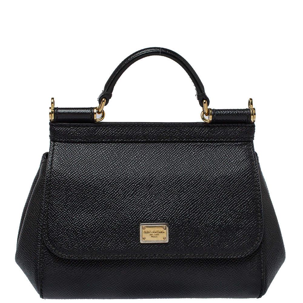 Dolce & Gabbana Black Leather Mini Miss Sicily Top Handle Bag