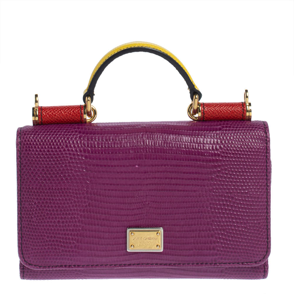 Dolce & Gabbana Multicolor Lizard Embossed Leather Miss Sicily Von Wallet