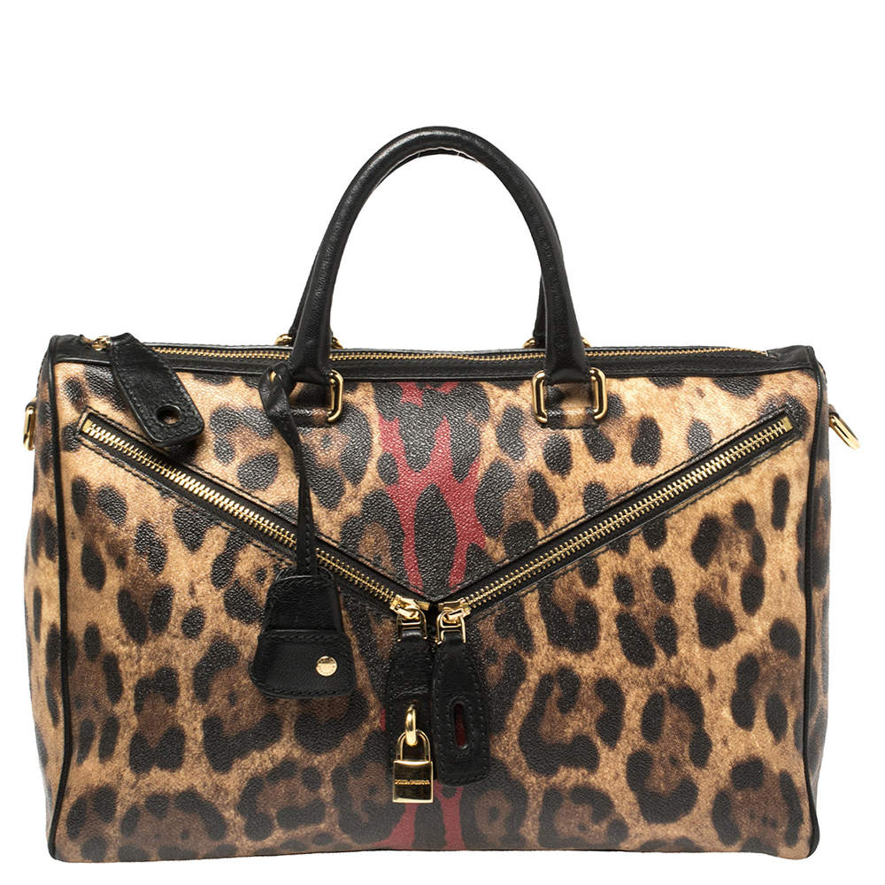 Dolce & Gabbana Black/Brown Leopard Print Coated Canvas and Leather Zip Detail Satchel