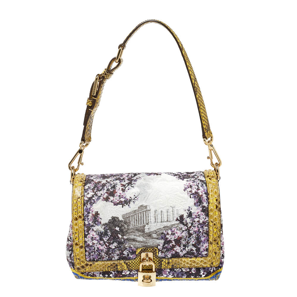 Dolce & Gabbana Multicolor Printed Canvas and Python Trim Miss Dolce Bag