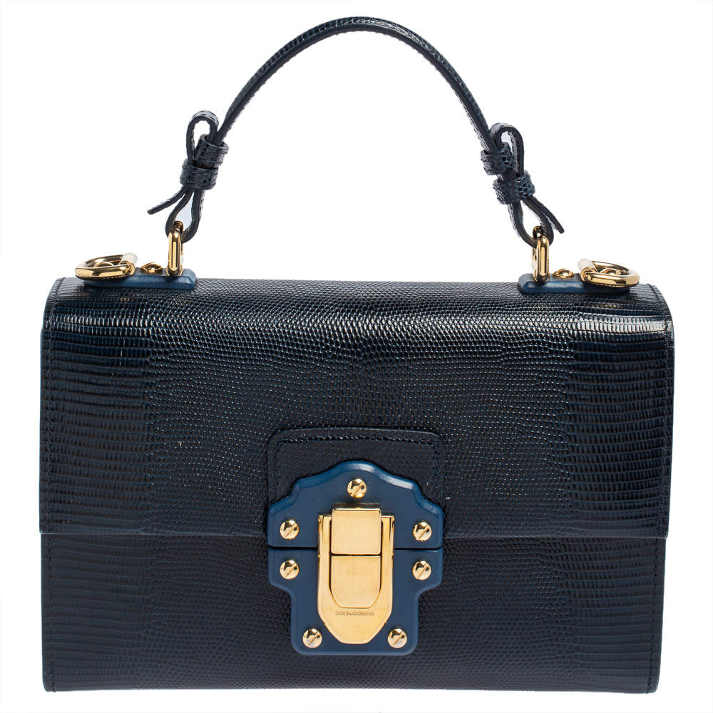 Dolce & Gabbana Blue Lizard Embossed Leather Lucia Top Handle Bag