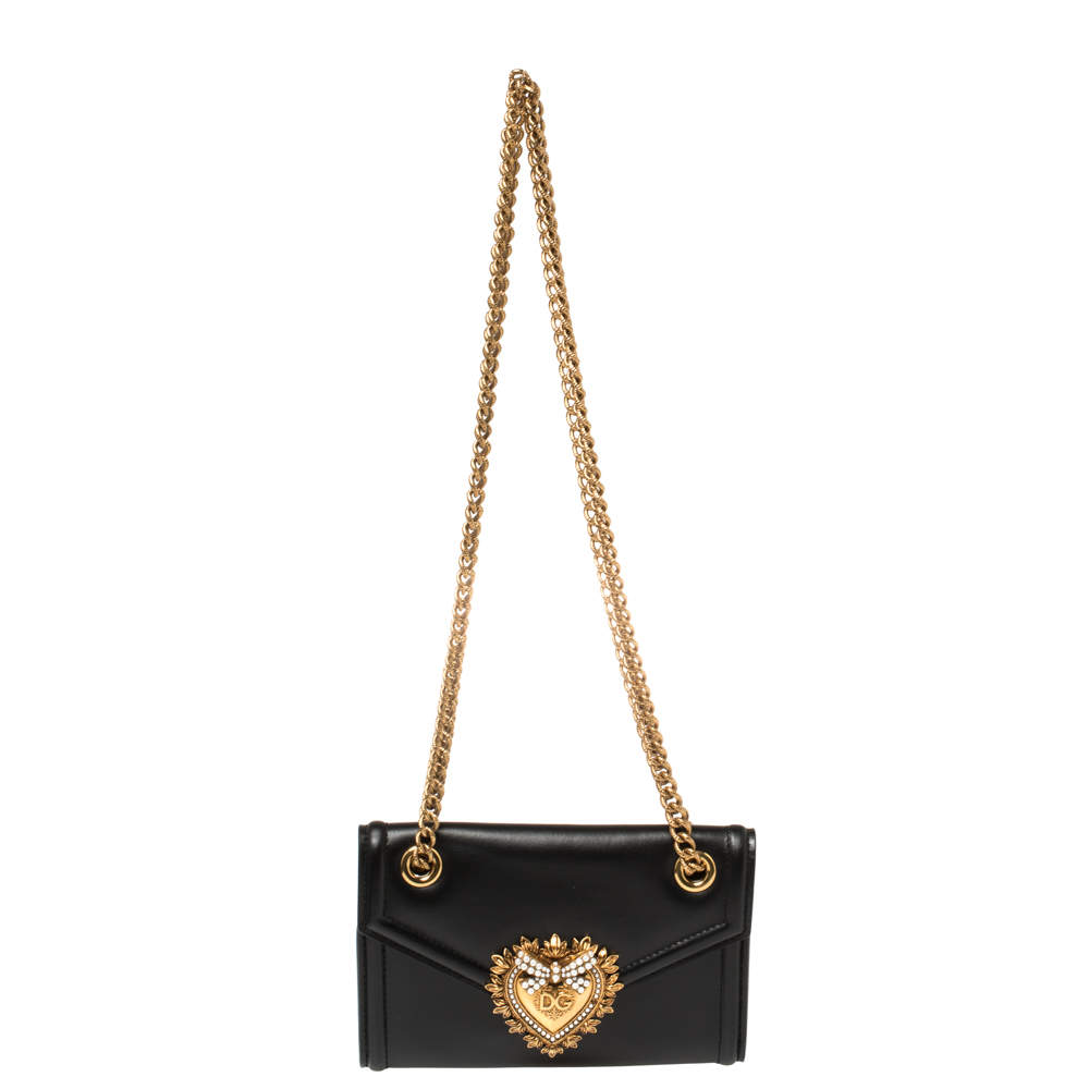 Dolce & Gabbana Black Leather Mini Devotion Shoulder Bag