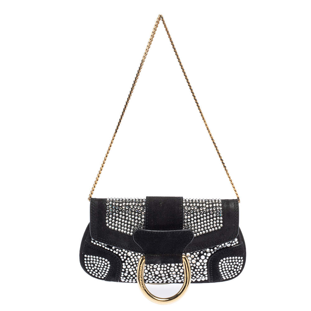 Dolce & Gabbana Black Crystal Embellished Suede Chain Clutch