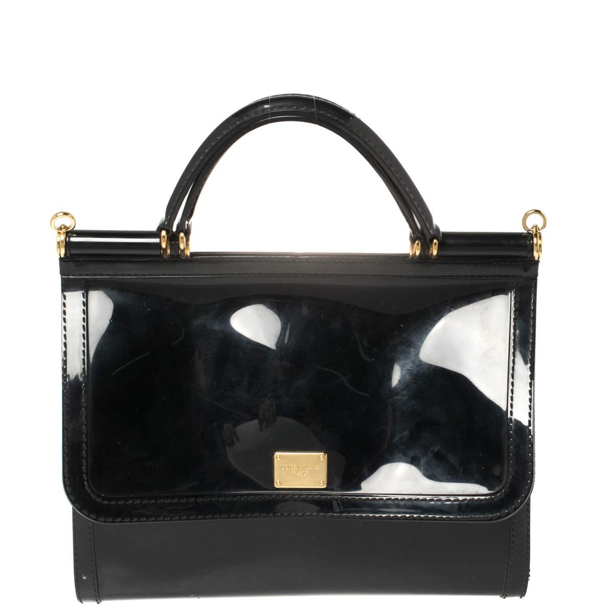 Dolce & Gabbana Black Rubber Small L'amore È Bellezza Miss Sicily Top Handle Bag