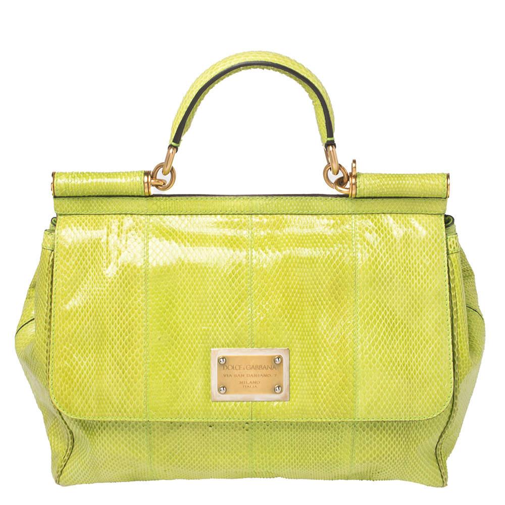 Dolce & Gabbana Green Snakeskin Large Miss Sicily Top Handle Bag