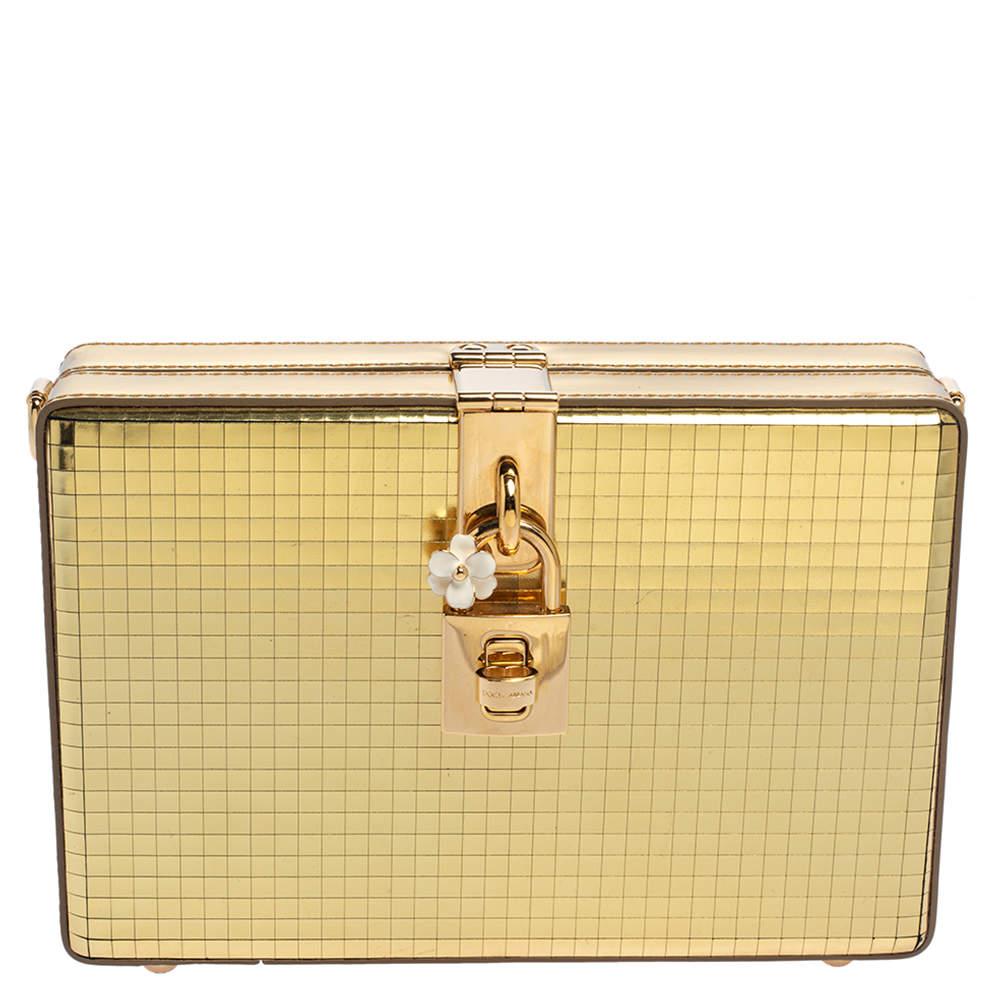 Dolce & Gabbana Metallic Gold Patent Leather Box Clutch