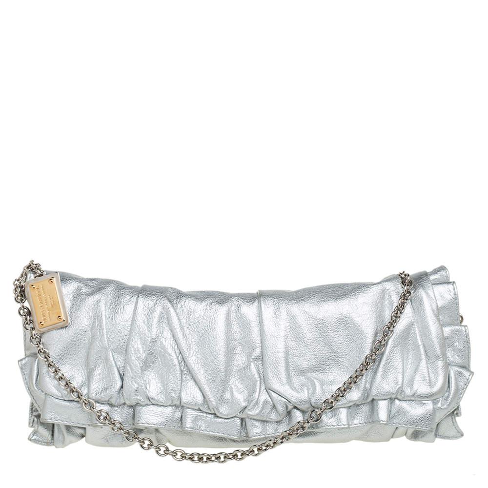 Dolce & Gabbana Silver Ruffle Leather Miss Buttercup Chain Clutch