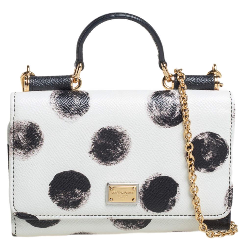 Dolce & Gabbana White/Black Polkadot Leather Miss Sicily Von Wallet on Chain