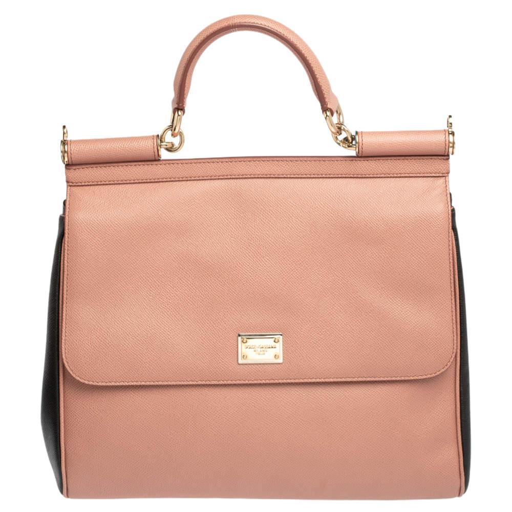 Dolce & Gabbana Pink/Black Leather Large Miss Sicily Top Handle Bag