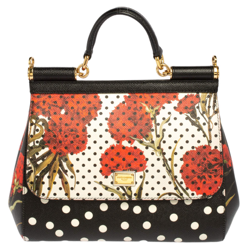 Dolce and Gabbana Multicolor Floral And Polka Dot Print Leather Medium Miss Sicily Top Handle Bag