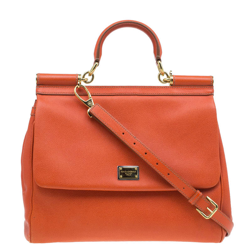 Dolce & Gabbana Orange Leather Large Miss Sicily Top Handle Bag