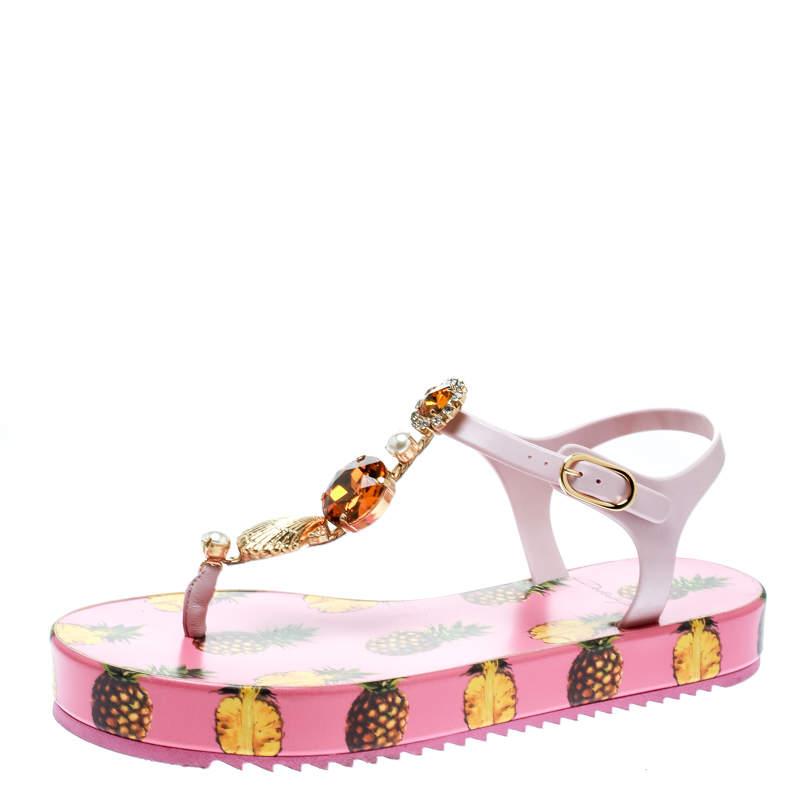 Dolce & Gabbana Pink Rubber Pineapple Print Crystal Embellished Platform Thong Sandals Size 39