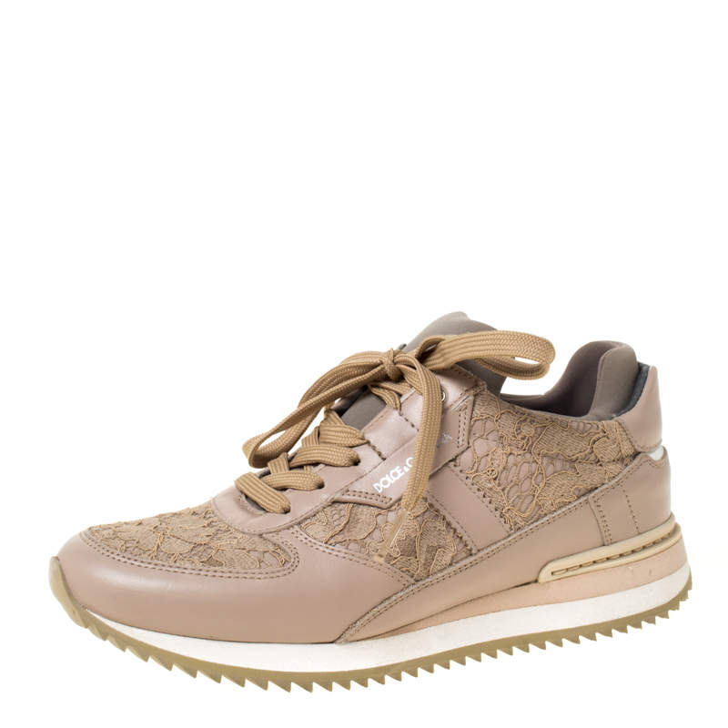 Dolce & Gabbana Beige Lace And Leather Lace Up Sneakers Size 35
