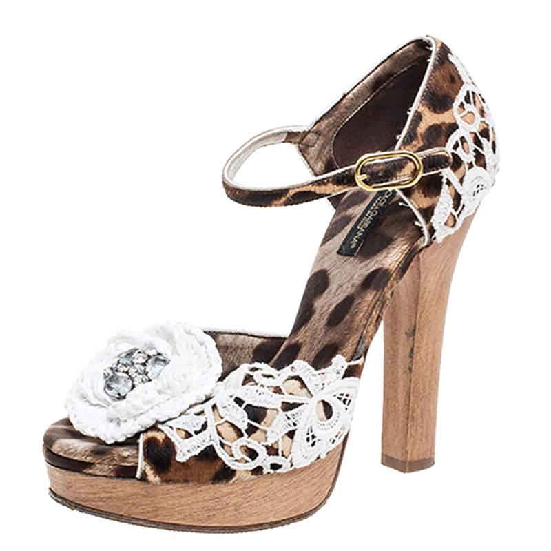Dolce & Gabbana Brown Leopard Print Calf Hair Lace Detail Embellished Platform Sandals Size 37