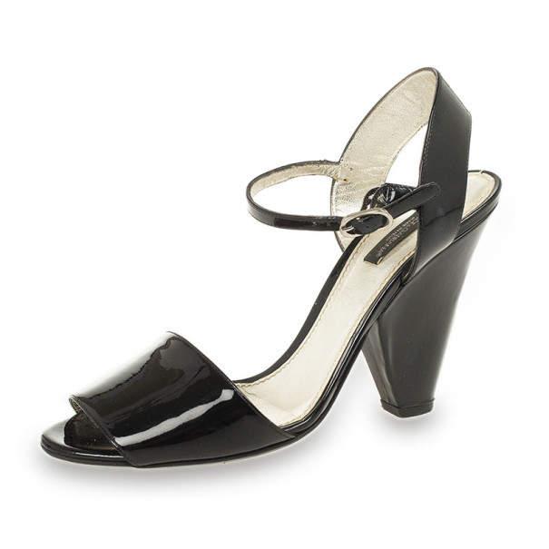 Dolce & Gabbana Black Patent Open Toe Sandals Size 38.5