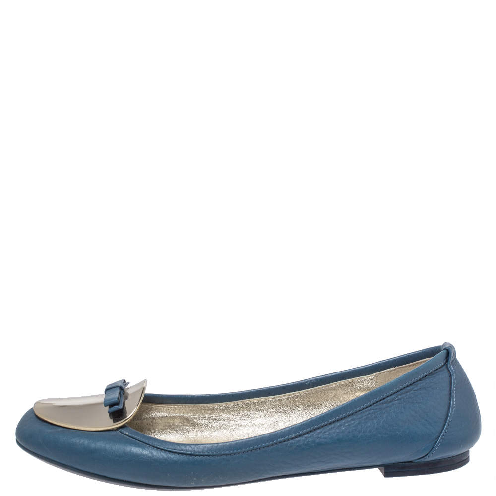 Dolce and Gabbana Blue Leather Gold Plaque Bow Detail Ballet Flats Size 39