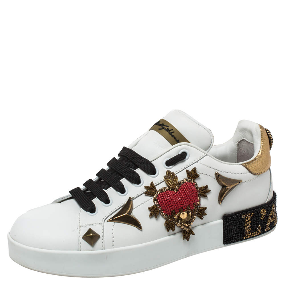 Dolce and Gabbana White Leather Portofino Embellished Low Top Sneakers Size 37