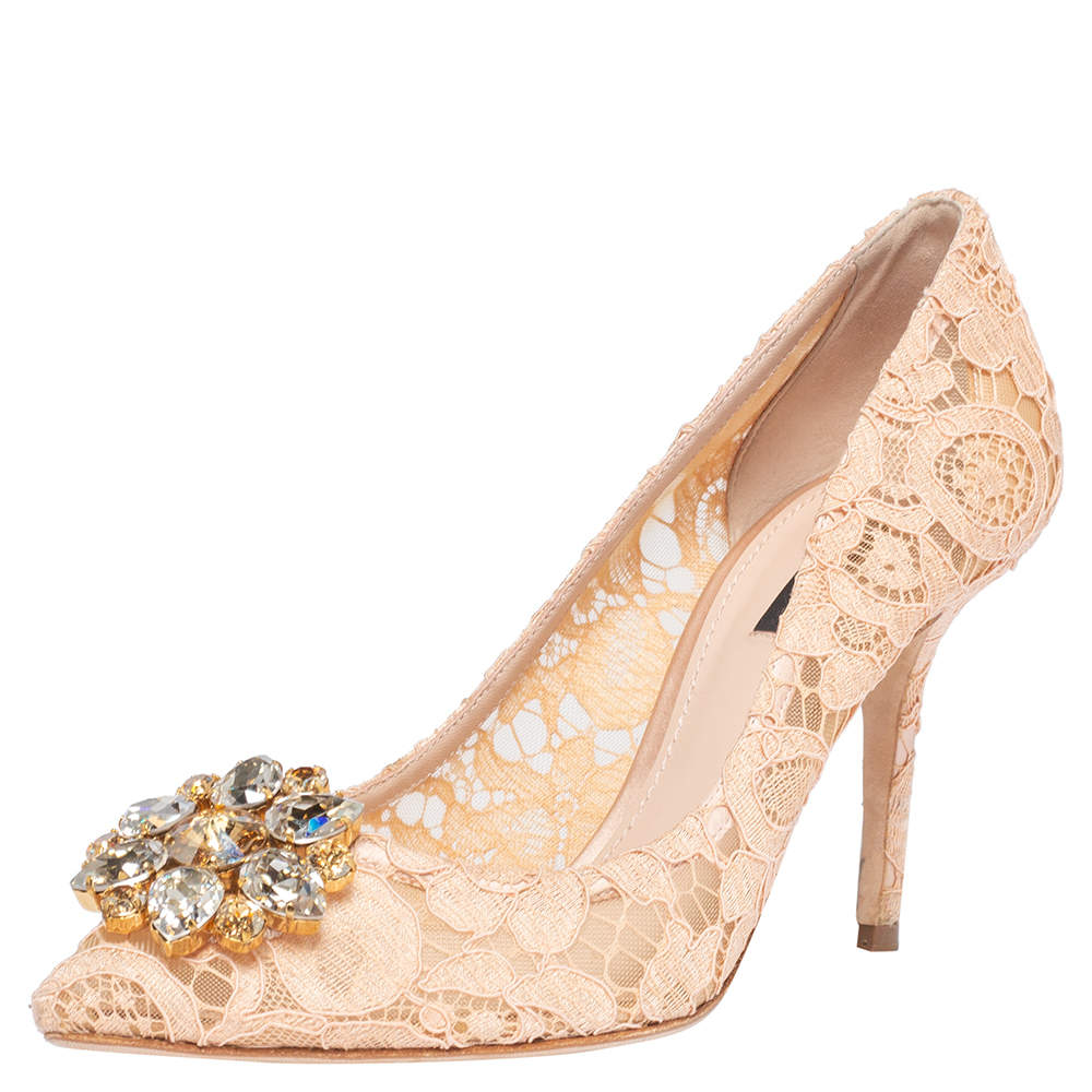 Dolce and Gabbana Beige Lace Bellucci Crystal Embellished Pointed Toe Pumps Size 39