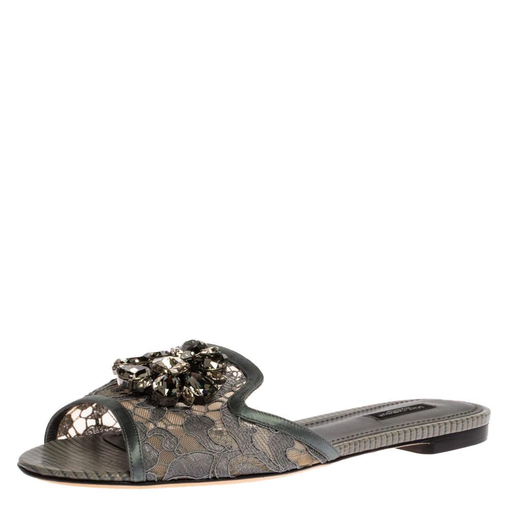 Dolce & Gabbana Grey Lace Sofia Crystal Embellished Slide Flats Size 39