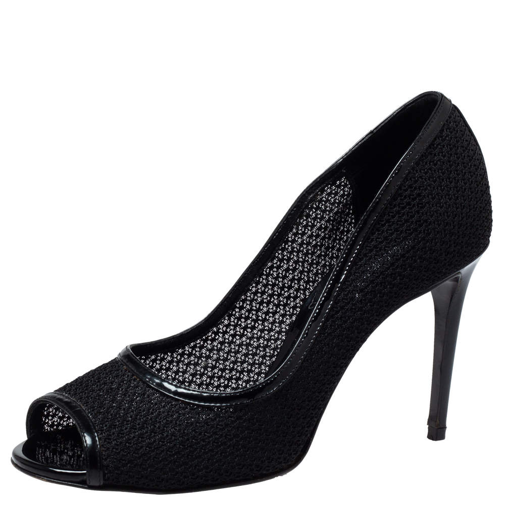 Dolce & Gabbana Black Mesh And Leather Trims Peep Toe Pumps Size 39