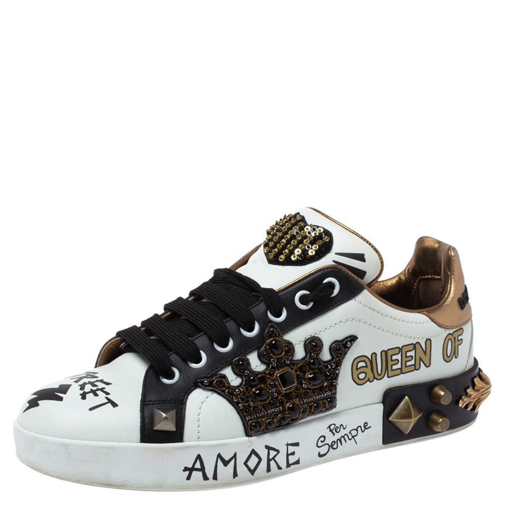 Dolce & Gabbana Tri Color Leather Portofino Crown Embellished Low Top Sneakers Size 38