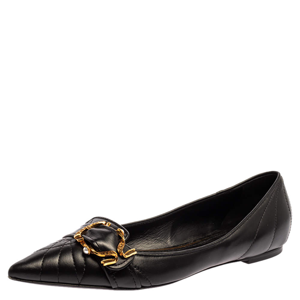 Dolce & Gabbana Black Matelasse Leather Devotion Pointed Toe Ballet Flats Size 41