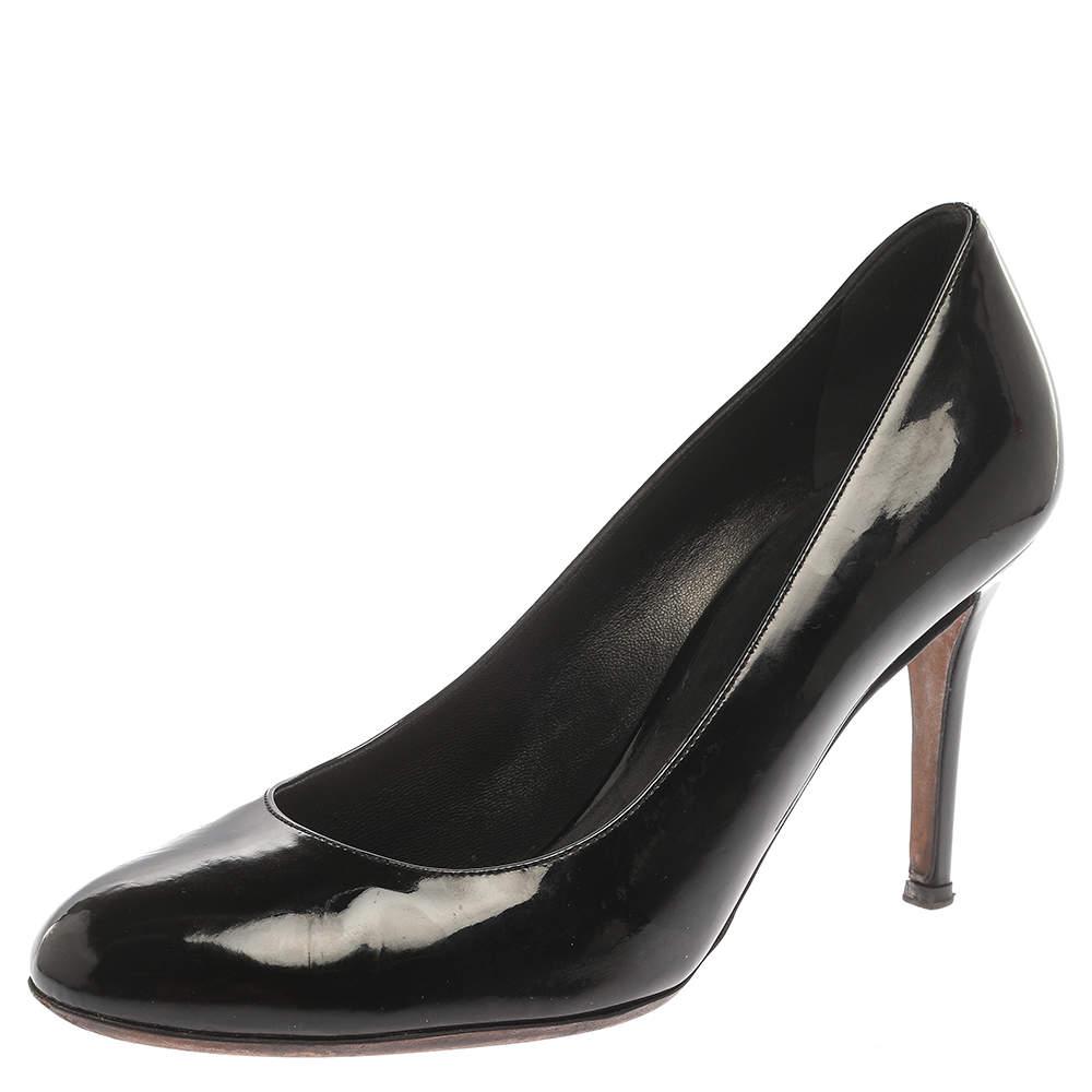 Dolce & Gabbana Black Patent Leather Round Toe Pumps Size 41