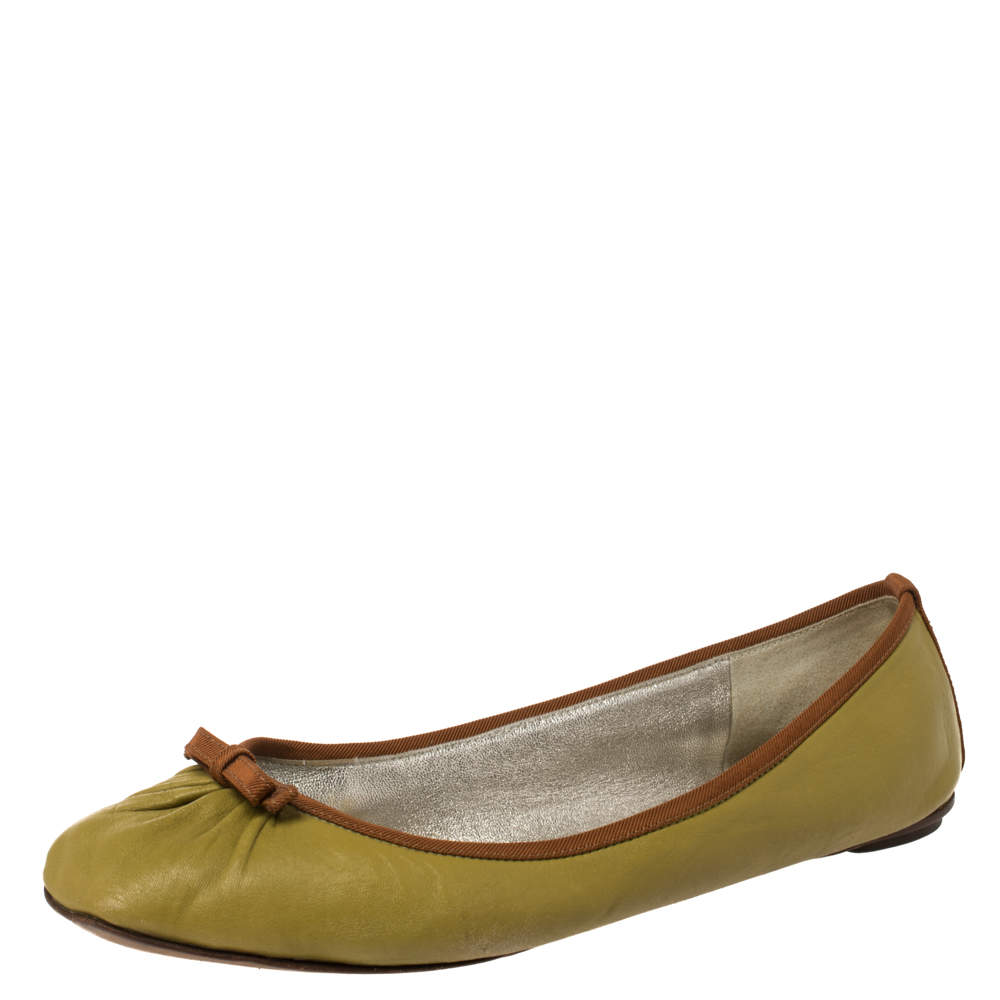 Dolce & Gabbana Green Leather Bow Ballet Flats Size 38