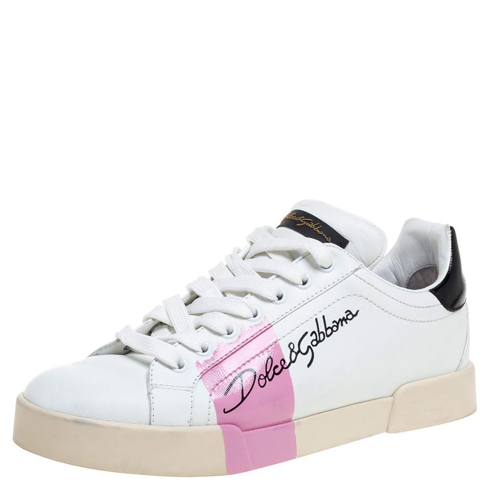 Dolce & Gabbana White And Black Leather Portofino Low Top Sneakers Size 39